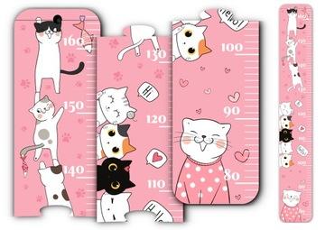 Розовая мера роста для настенных кошек кошек