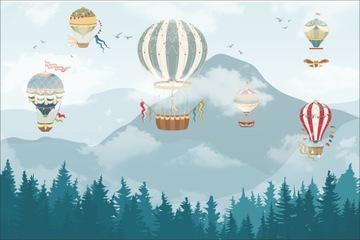 Фотообои на флизелине горы, лес, воздушные шары