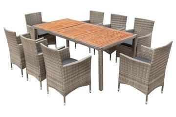 Садовая мебель, стол + стулья из полираттана на 8 человек