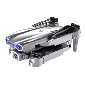 Дрон имеет двойную камеру на 3 аккумулятора, серебристый.