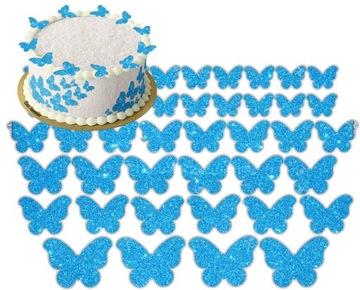 Разноцветные бабочки с вафлей на торте с 49 бабочками