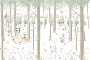 Фото обои лесные животные, лес