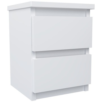 Прикроватная тумбочка, 2 ящика, стол РТВ, комод, БЕЛЫЙ МАТ