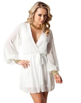 John Zack biała sukienka szyfon z cekinami S