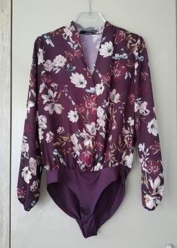 Bordowe body koszulowe w kwiaty S/M