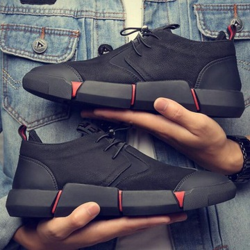 Męskie buty czarne skórzane