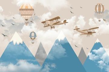 Фотообои для детей самолеты воздушные шары горы облака