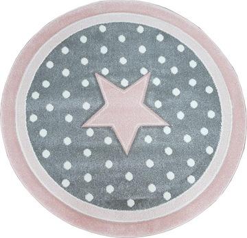 Ковер DIAMOND 3D star 120 round circle розовый