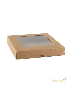 Ящик с окном, низкий квадрат - крафт