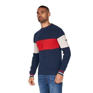 Sweter BARONY KNIT JUMPER granatowy/czerwony L