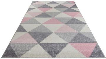розовый Коврик для девочки 140х200 модный серый