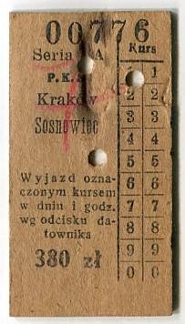 КРАКОВ - СОСНОВЕЦ :: Билет на ПКС: 1949 г.