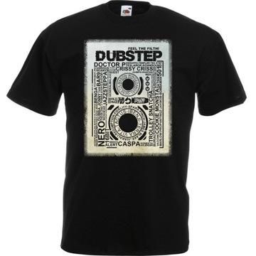 Koszulka z nadrukiem dubstep muzyka dub L czarna