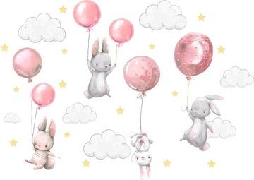 Наклейки на стену Зайчики воздушные шары для детей 100 3