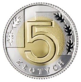 Монета 5 злотых 2021 года из мешка