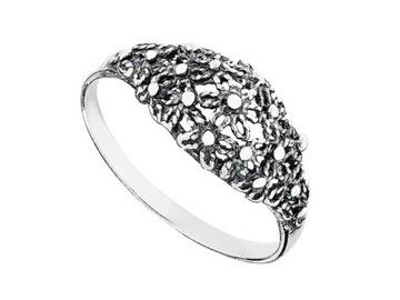 Kwiaty KWIATKI srebrny CZERNIONY pierścionek r. 12