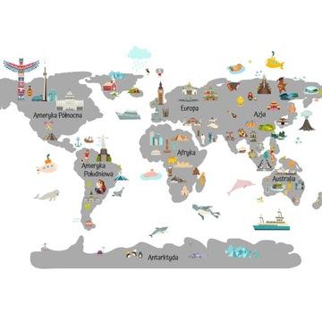 наклейки карта мира для детей 100x200