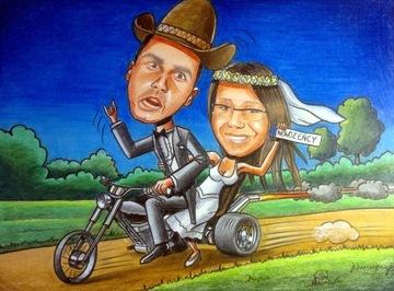 Карикатура по фото А3 1-2 человека, день рождения, свадьба