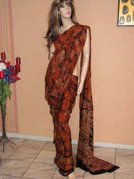 obłędne rudo czarne bogate sari bollywood nowe 6m.