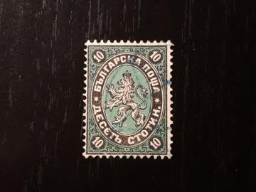 марка Болгария, 1881 г., 10 ст, черно-зеленая