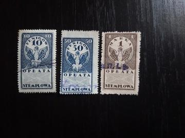 марки гербовый сбор 10 Ф, 50 Ф, 1 мк.