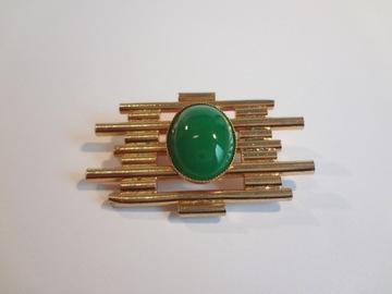 Золотая брошь с застежкой «Зеленые глазки» UNIKAT!