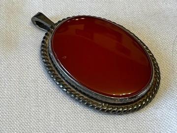 Старый серебряный кулон с серебряным камнем со знаком.