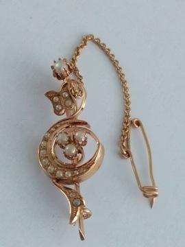 Викторианская брошь Жемчужина 19 века. Золото 585 пробы.