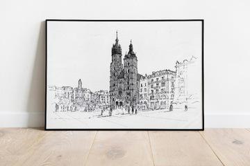 Черно-белая графика - Краков, Церковь Святой Марии