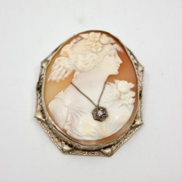 Брошь-камея кулон золото 585 пробы