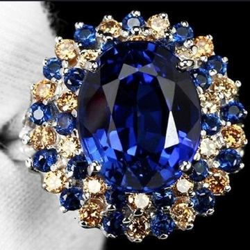 Кольцо, цветочные фианиты