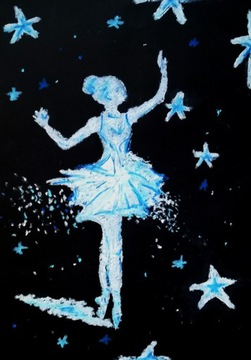 Черно-белая картина балерины 21х29,7см A4