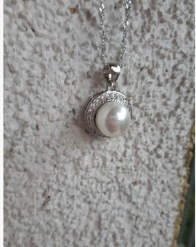 Nat. жемчуг, серебряный кулон с цепочкой