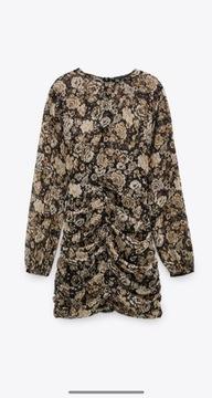 Zara nowa sukienka kwiaty z drapowaniem instagram