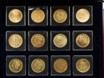 деревянный футляр с 12 монетами