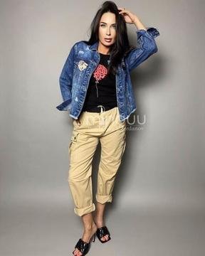 Bawełniane spodnie Minouu Justine beżowe rozmiar L