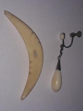 Кулон и серьги слоновая кость 585