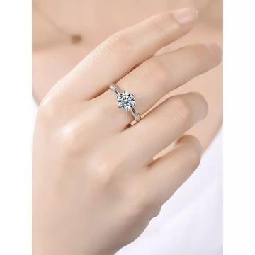 Сверкающее кольцо с бриллиантом из муассанита 1 карат
