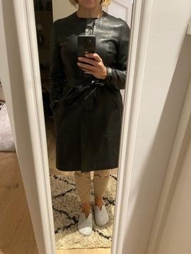 Massimo Dutti Skórzany płaszcz rozm M