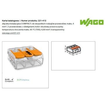 Złączka COMPACT WAGO 221-413 3x4mm2 /50szt.