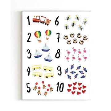Plakat edukacyjny dla dzieci A4 CYFRY LICZBY