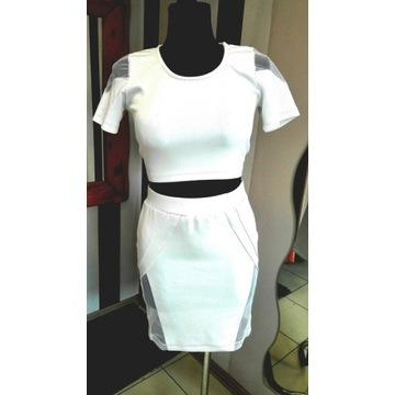 Komplet spódniczka+ top r. S/M biały