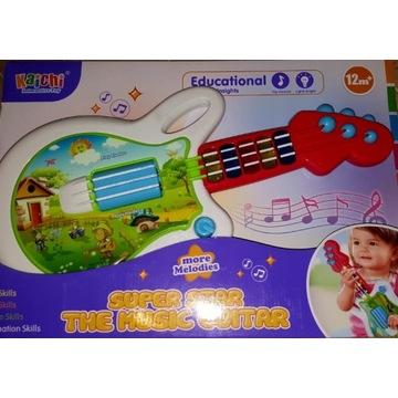 Interaktywna duża gitara dla najmłodszych Grająca