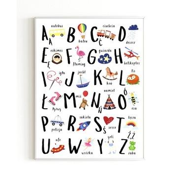 Plakat edukacyjny dla dzieci A4 ALFABET