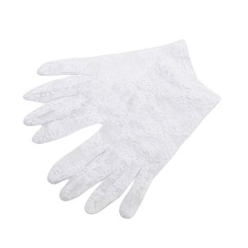 Rękawiczki koronkowe damskie krótkie - białe