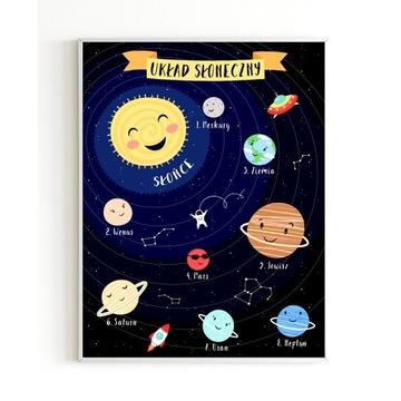 Plakat edukacyjny dla dzieci A4 UKŁAD SŁONECZNY