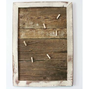 Ramka na zdjęcia ze sznurkami stare drewno