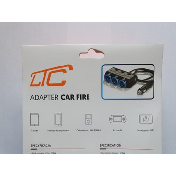 Adapter CAR FIRE LED +3 gniazda+ 2xUSB 1,2A 12/24V