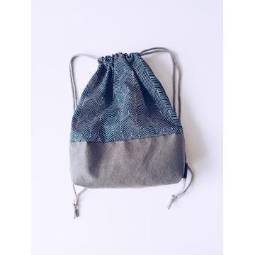 Nowy designerski szaro niebieski worek plecak