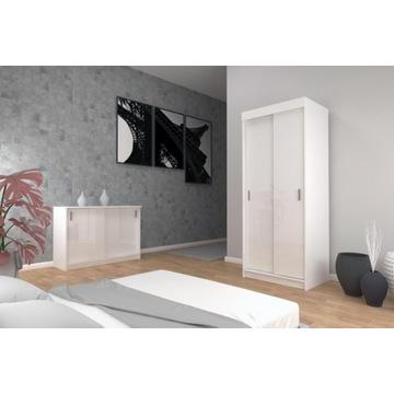 Zestaw szafa +komoda LINE sypialnia 3kolory połysk